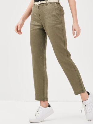 Pantalon chino taille basculee vert kaki femme