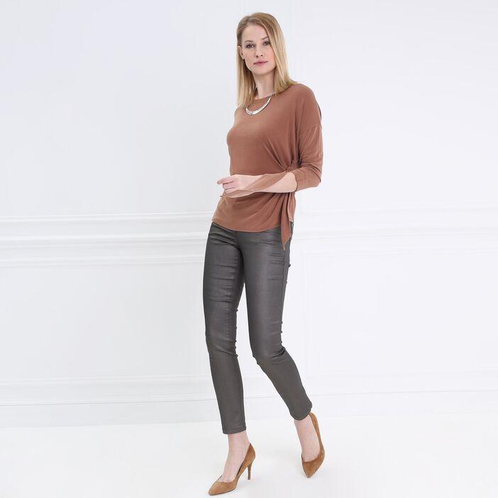 T-shirt manches 3/4 drapé marron clair femme