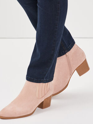 Bottines a talons bottiers rose clair femme