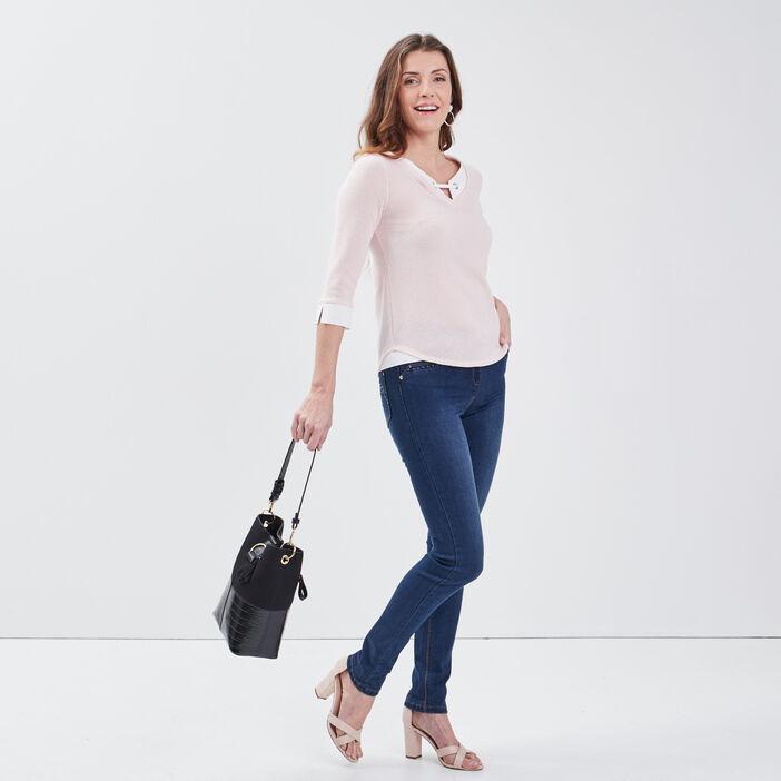 T-shirt manches 3/4 2-en-1 rose clair femme