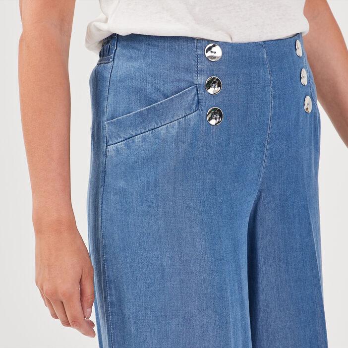 Pantalon large taille haute denim double stone femme