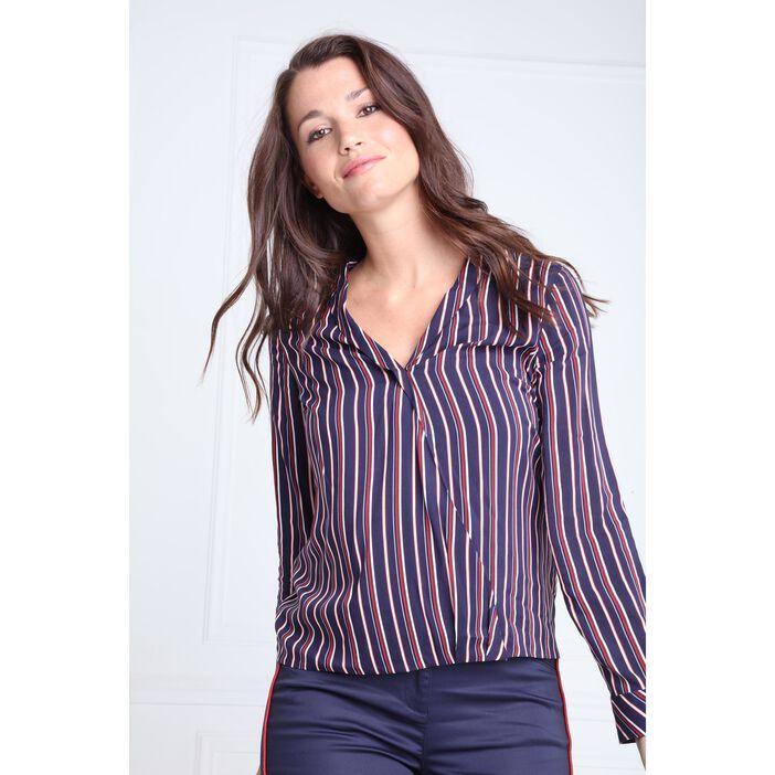 Chemise col châle croisé motif rayé bleu marine femme