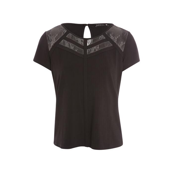 T-shirt manches courtes uni noir femme
