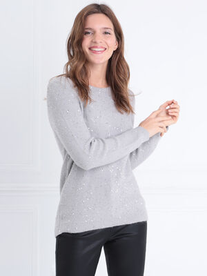 Pull manches longues sequins gris femme