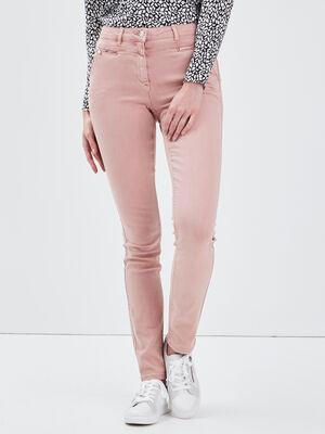 Pantalon ajuste details zippes rose femme