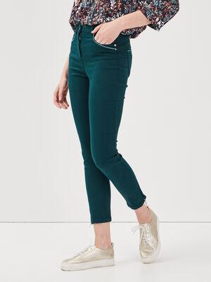 Pantalon ajuste taille haute vert fonce femme