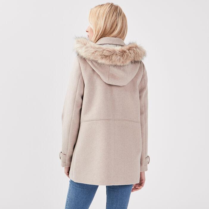 Manteau droit à capuche creme femme
