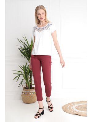 Pantalon 78 taille standard rouge fonce femme
