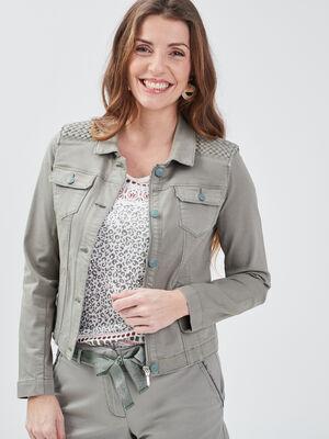 Veste droite boutonnee en jean vert clair femme