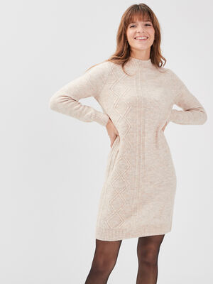 Robe pull droite a col montant creme femme