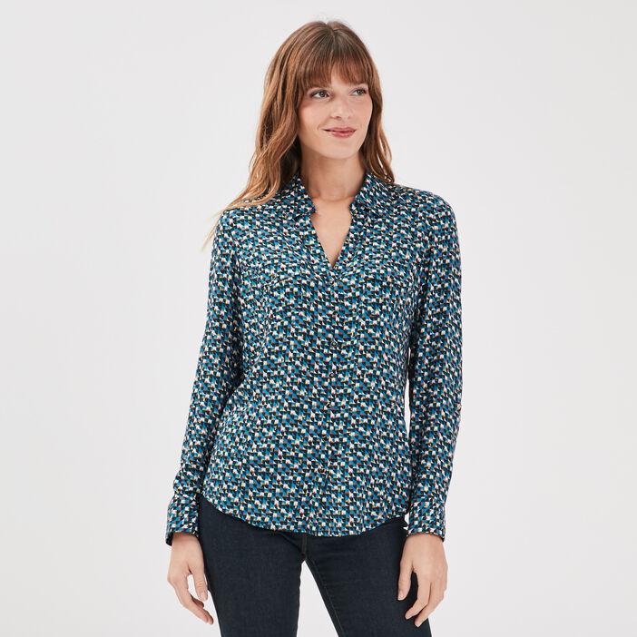 Chemise manches longues bleu turquoise femme