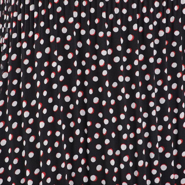 Robe droite plissée noir femme