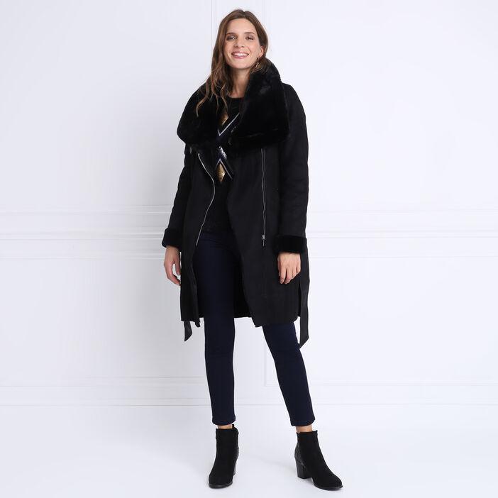 Pull manches longues duveteux noir femme
