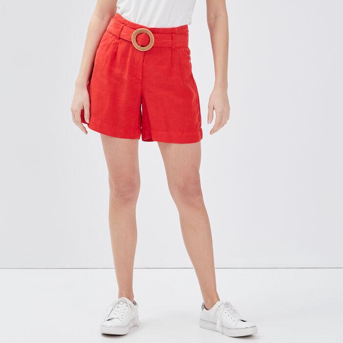 Short évasé taille haute rouge femme