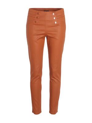 Pantalon ajuste a ponts taille basculee marron femme