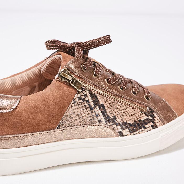 Baskets plates détails zippés marron clair femme
