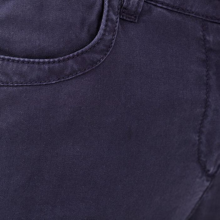 Pantacourt droit bleu marine femme