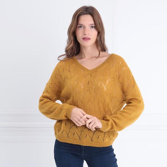 Pull manches longues ajouré jaune femme