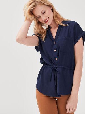 Chemise manches courtes bleu marine femme