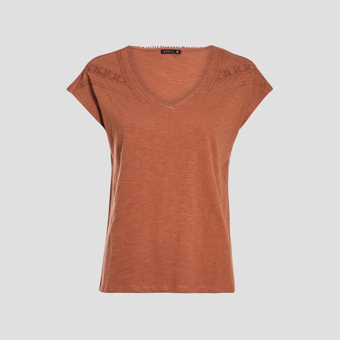 T-shirt manches courtes camel femme