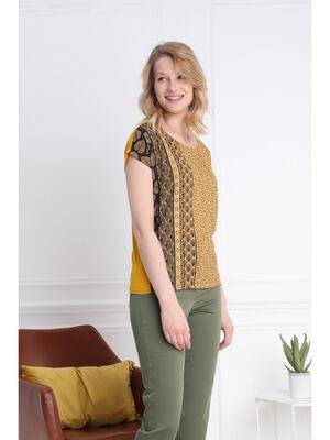 T shirt manches courtes clous jaune or femme