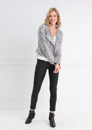 Veste cintree zippee gris femme