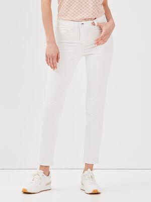 Pantalon ajuste reversible ecru femme
