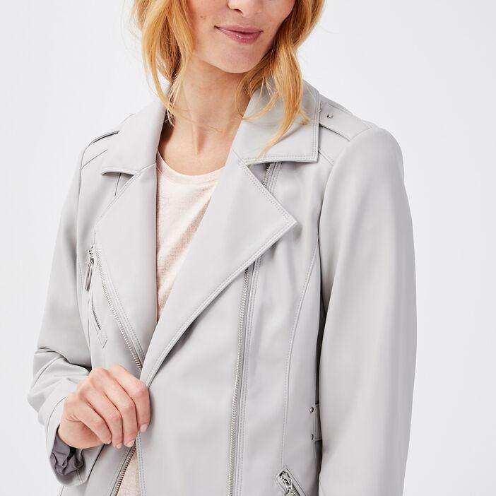 Veste similicuir fourrure amovible gris foncé femme
