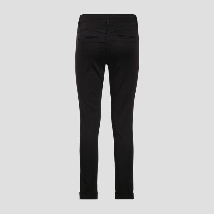 Pantalon chino ajusté noir femme