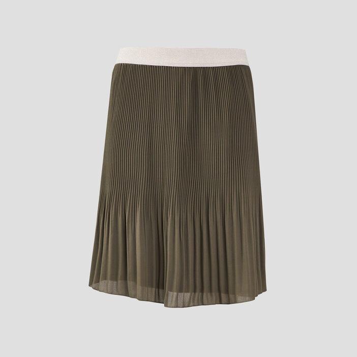 Jupe droite plissée vert kaki femme