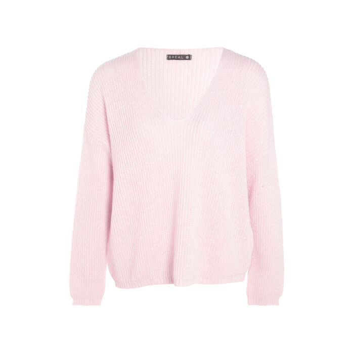 Pull manches longues col en V rose clair femme