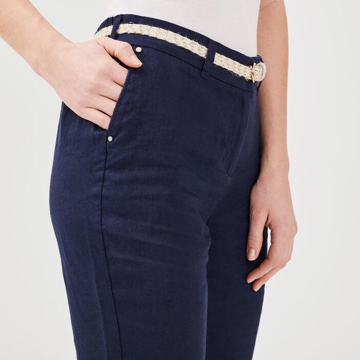 Pantalon chino taille basculée bleu marine femme