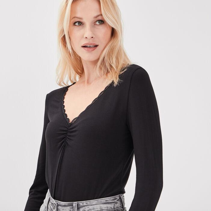 T-shirt manches longues noir femme