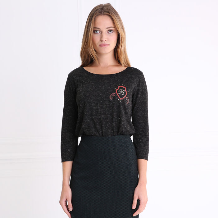 T-shirt manches 3/4 blason poitrine noir femme