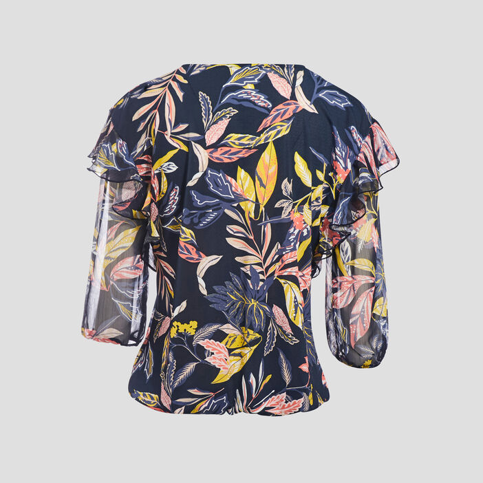T-shirt manches 3/4 volantées noir femme