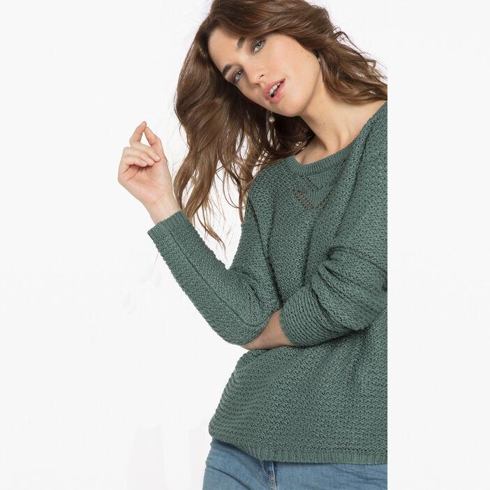 Pull maille fantaisie boutons vert foncé femme