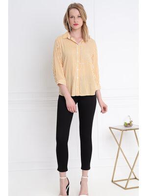 Chemise manches 34 jaune or femme