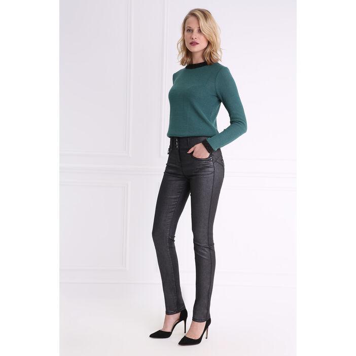 Pantalon taille haute coupe ajustée noir femme