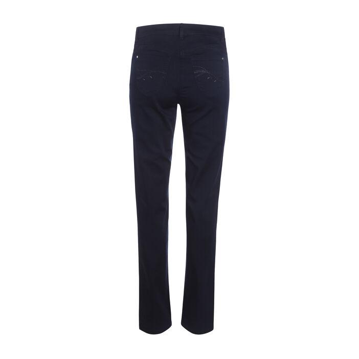 Pantalon en satin bleu foncé femme