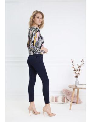 Pantalon leger toucher doux pochette denim brut femme