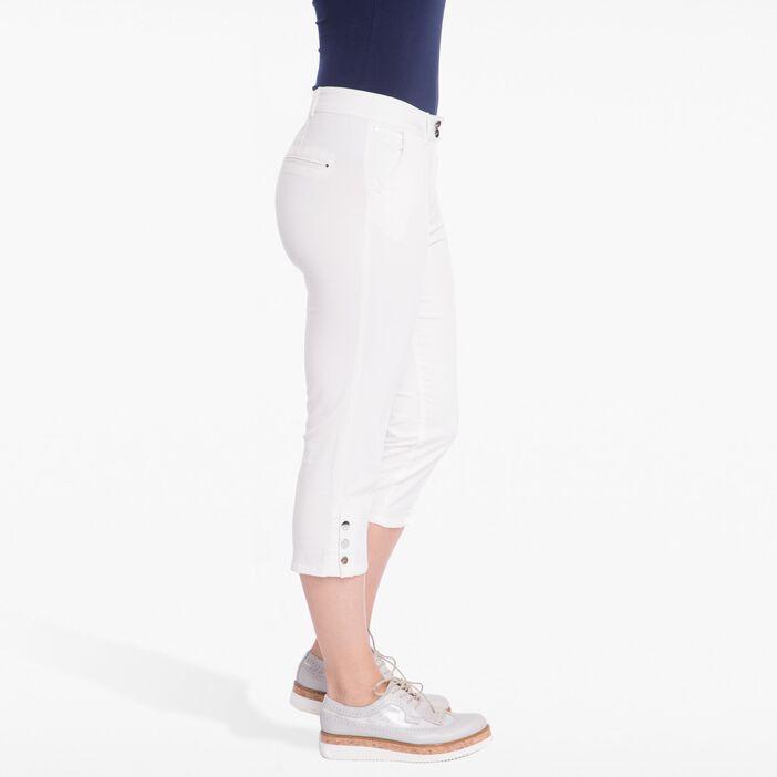 Pantacourt uni en coton stretch blanc femme