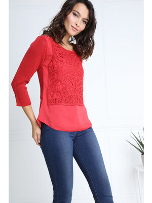 Pull col rond bi matiere rouge femme