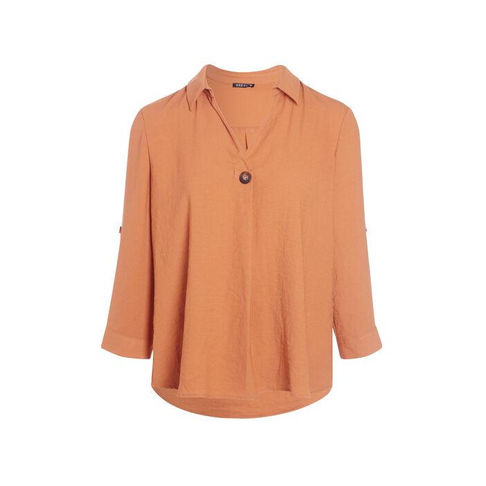 Blouse manches 3/4 boutonnées orange foncé femme