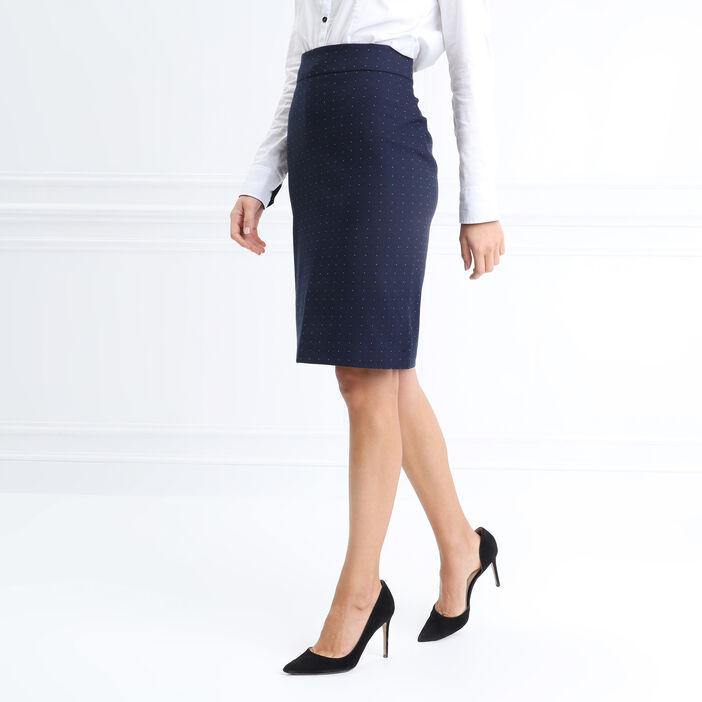 Jupe ajustée fendue bleu marine femme