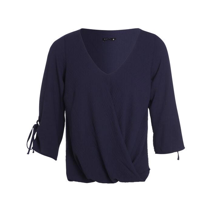 Blouse manches 3/4 drapé bleu marine femme