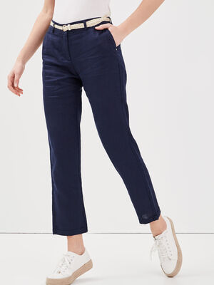 Pantalon chino taille basculee bleu marine femme
