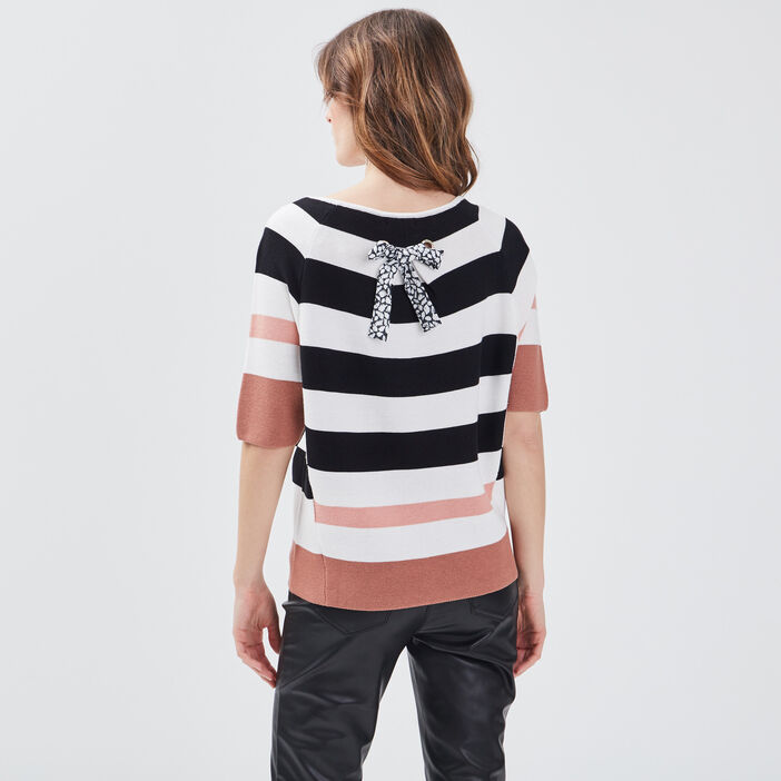 Pull manches 3/4 ruban noué rose femme
