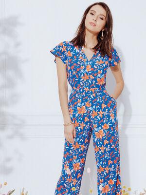 Combinaison pantalon droite bleu roi femme