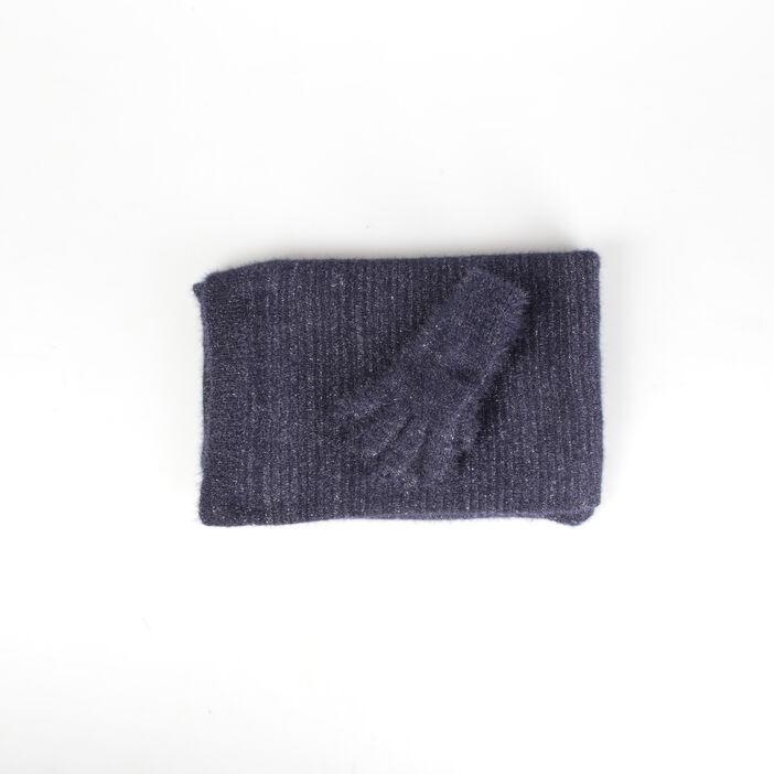 Set gants et écharpe maille bleu roi femme