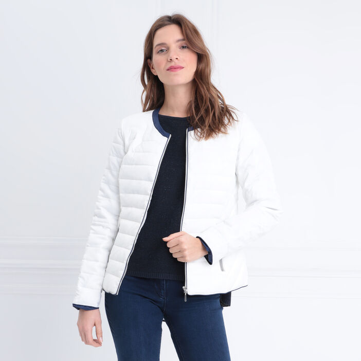 Doudoune droite zippée blanc femme
